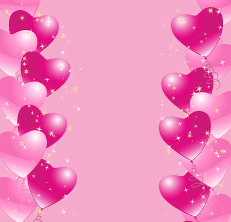 background with borders of heart balloons