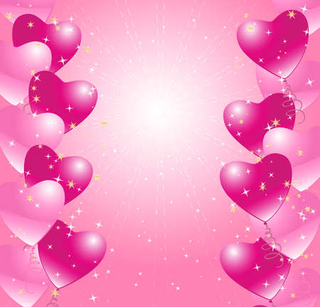 heart balloons background with stars