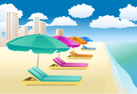 chairs with unbrellas on the beach  Vector