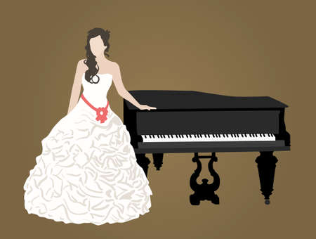 grand piano: bridal dress and black grand piano Illustration