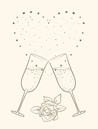 champagne and rose with heart background  Vector