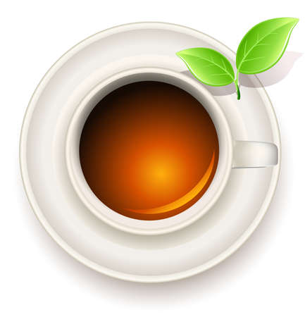 cup of tea with green tea leaves Vector
