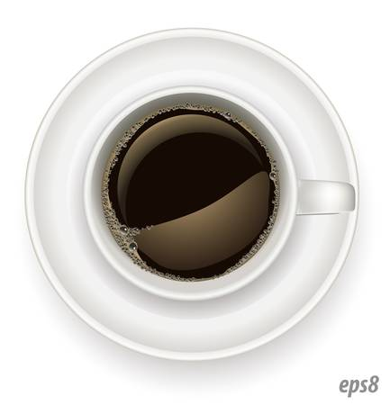 realistic white cup of coffee