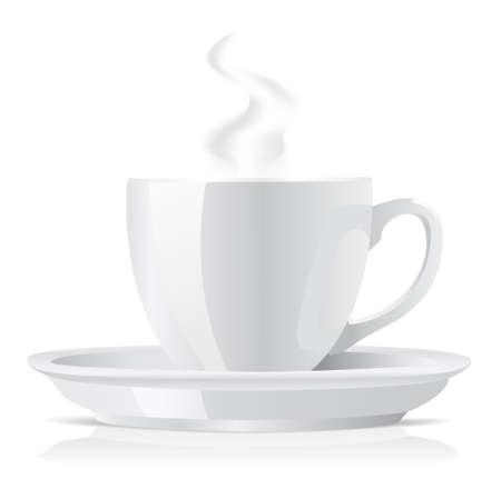 granos de cafe: realista blanco taza de caf�