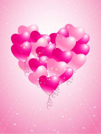 glitter heart: heart balloons background with stars