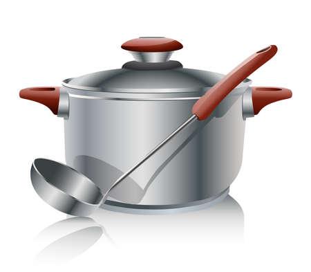 ebullition: acier inoxydable pan isol� sur fond blanc Illustration