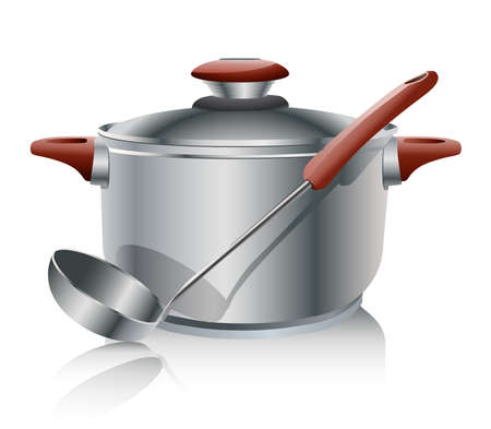 stew pot: stainless steel pan isolated on white