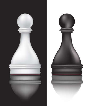 game design: black and white pawns  Illustration