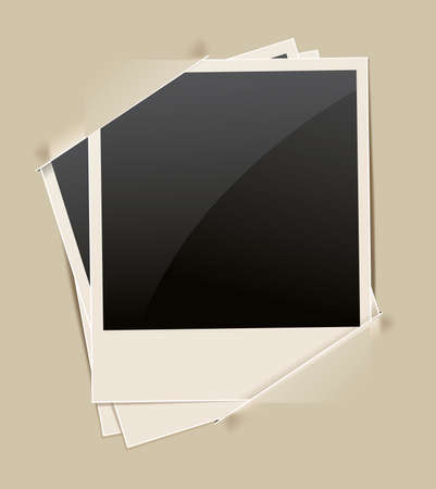 retro photo frame on paper background Vector
