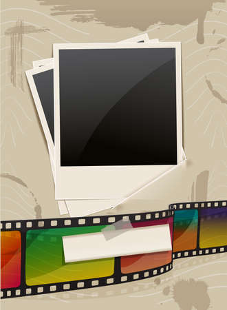 retro photo frame template with film Vector