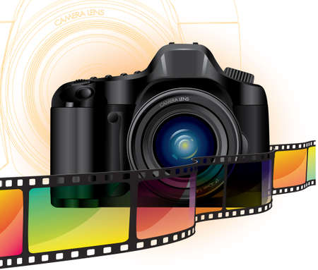 professional camera and color film Vector