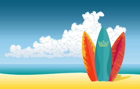 ビーチの背景にサーフボード  イラスト・ベクター素材