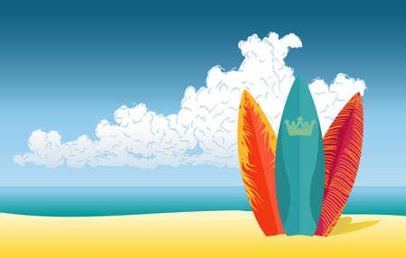 해변 배경에 서핑 보드