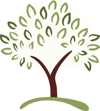 un arbre: simple symbole de l'arbre avec des feuilles vertes