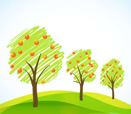 yellow apple: abstract brushed trees with fruits