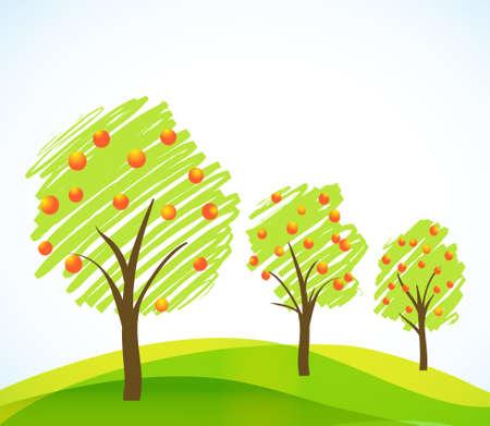pommier arbre: R�sum� bross� des arbres � fruits Illustration