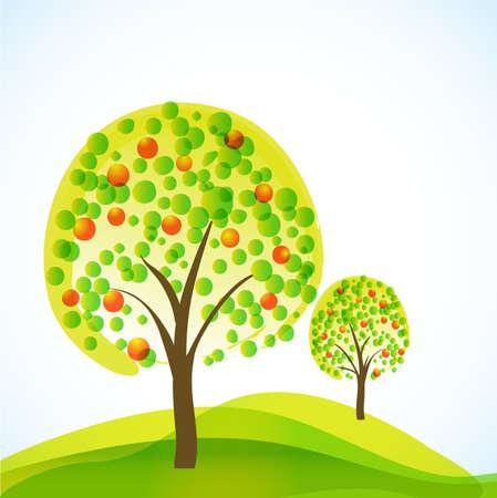 abstractos árboles con frutas