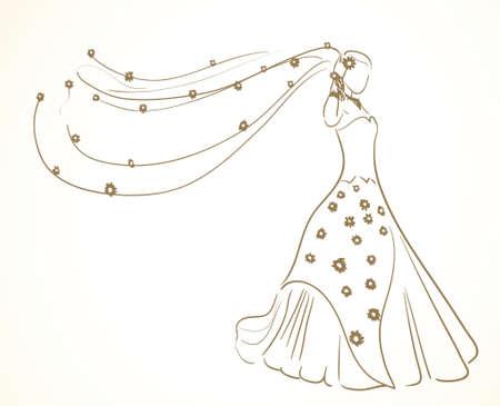 Hochzeitskleid mit Blumen im Schleier