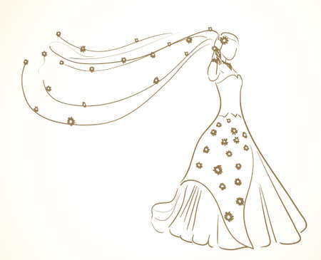 wedding dress with flowers in veil  Illustration