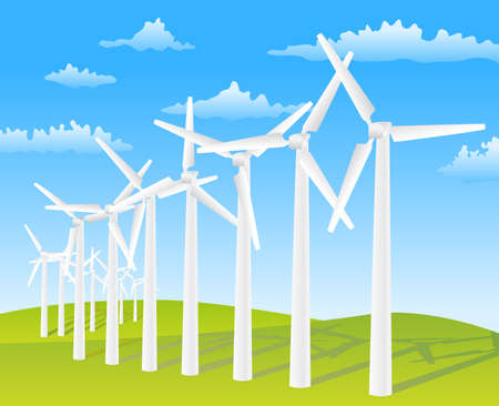 wind turbines on spring background Stock Vector - 9654914
