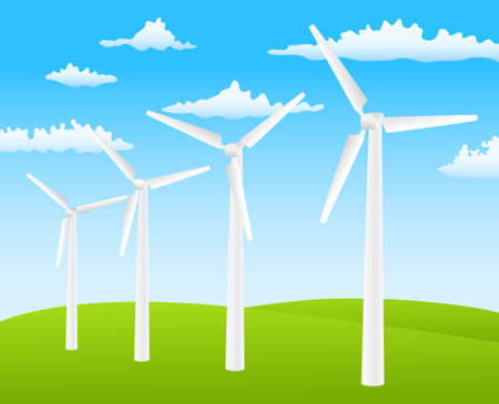 wind turbines on spring background Stock Vector - 9654908