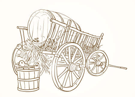 bucket water: vintage cart with a barrel of wine and a bucket