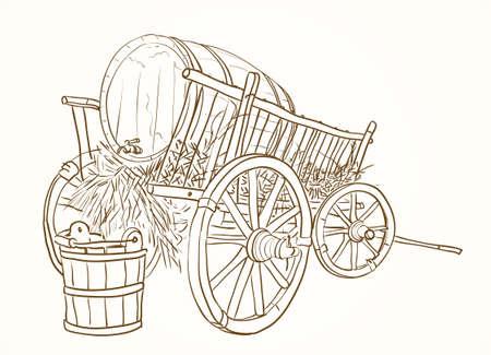 seau d eau: Vintage chariot avec un tonneau de vin et un seau