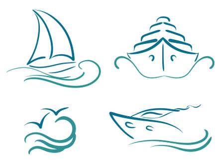 voile: symboles du yachting Illustration