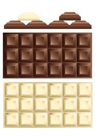 barra de chocolate: chocolate blanco y negro de barras