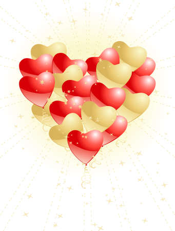 heart made of balloons Vetores