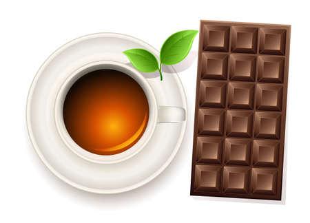 bar table: cup of tea an chocolate bar