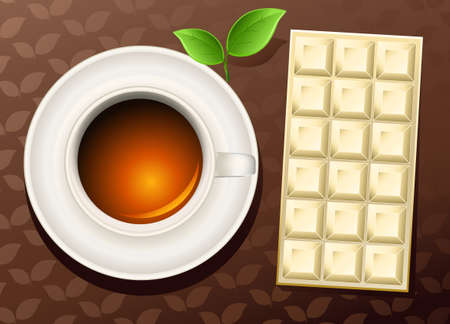 cup of tea an chocolate bar Vector
