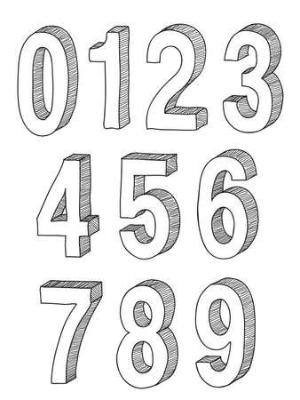 hand drawn 3d numbers  Ilustracja