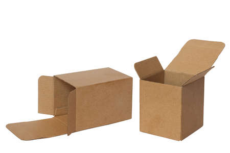 two open boxes isolated on white Stock Photo - 10352288