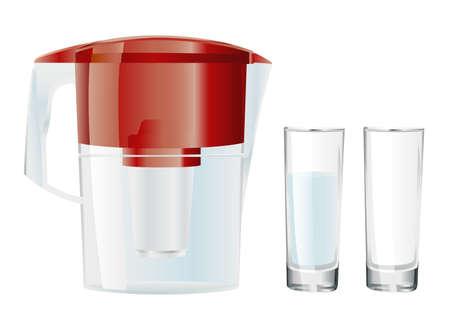 filtración: filtro de agua y dos vasos Vectores