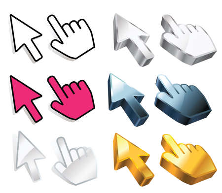 3d mouse: set of cursors with variations