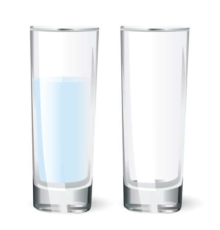 glass of water: empty glass and a glass with water