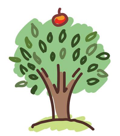 appletree: apple tree with a single apple