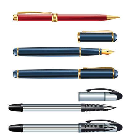set van realistische pennen eps10