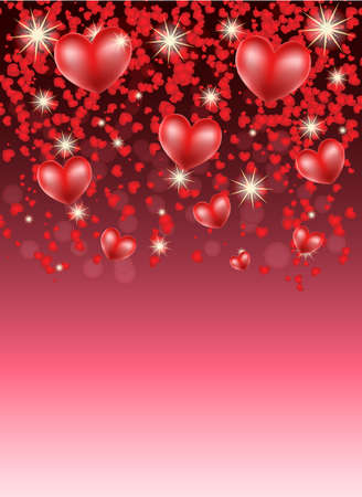 romantic background with hearts and stars Vector