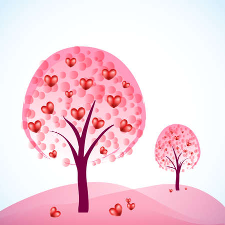 two abstract trees with hearts as fruits Stock Vector - 11810160
