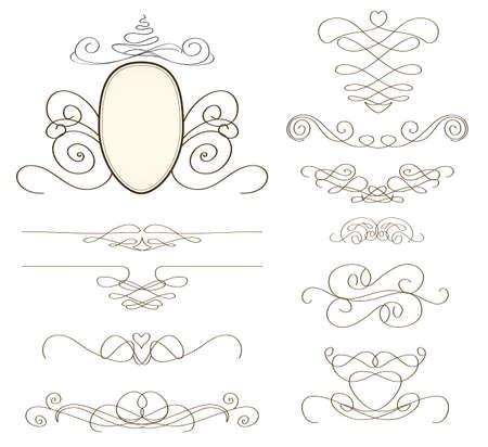 set of vintage decorative elements and frames  Illustration