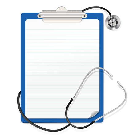 equipos medicos: estetoscopio en el portapapeles