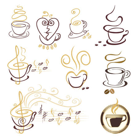 set of coffee cup symbols