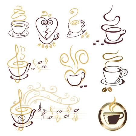 set of coffee cup symbols