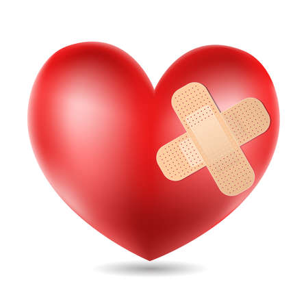 heart pain: heart with plaster