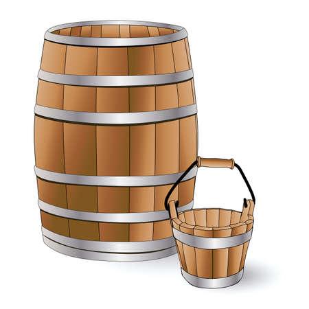 wooden work: canna e secchio