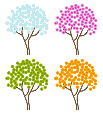 four season abstract trees Vector