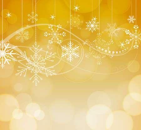 abstract snowflakes on golden bokeh background