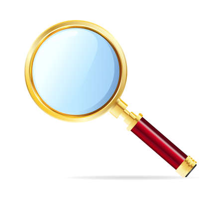 scrutiny: Magnifying glass on white background